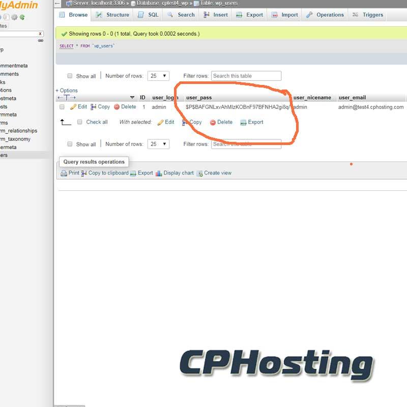 PHPMyAdmin WordPress Admin Password Recovery