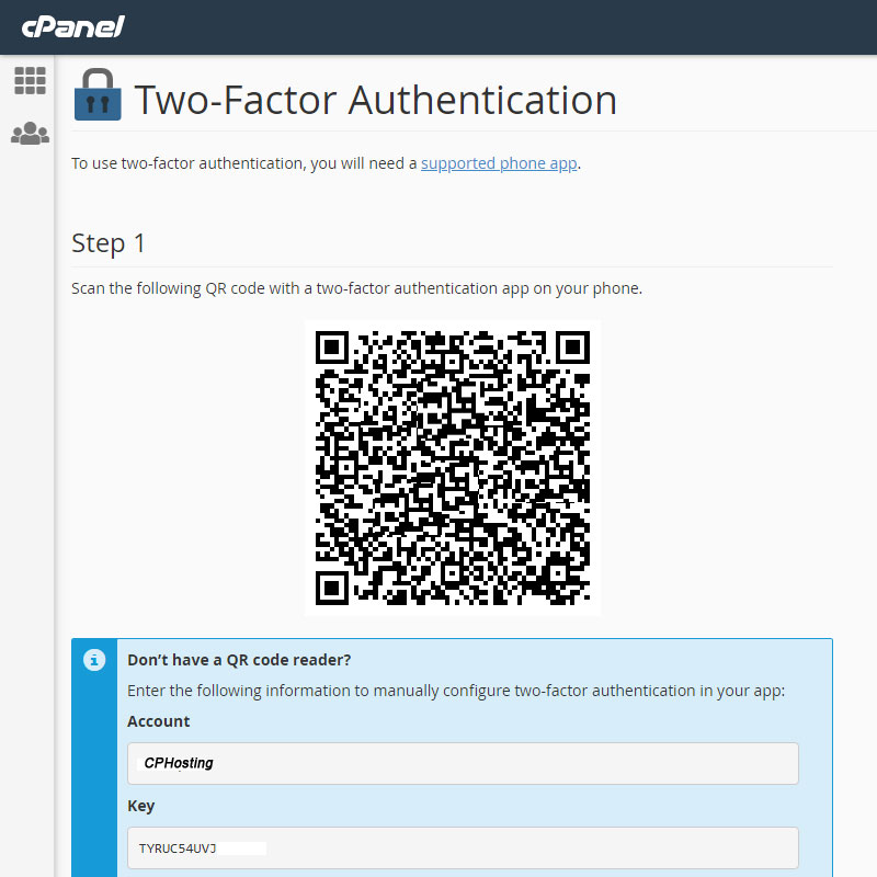 Two Factor Authentication Setup Inside cPanel